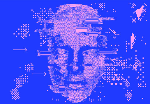 Abstract technology background with 3d face mask made of particles. Conceptual illustration of Artificial intelligence.