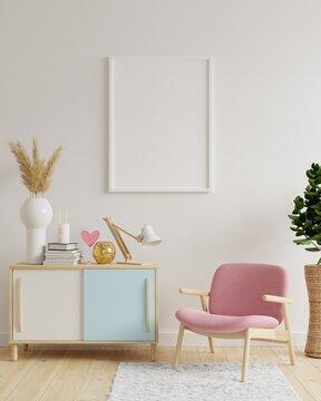 Mockup frame in living room interior,Scandinavian style.