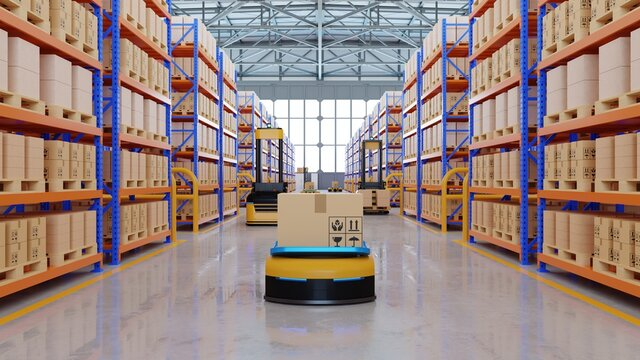 An army of robots efficiently sorting hundreds of parcels per hour(Automated guided vehicle) AGV.