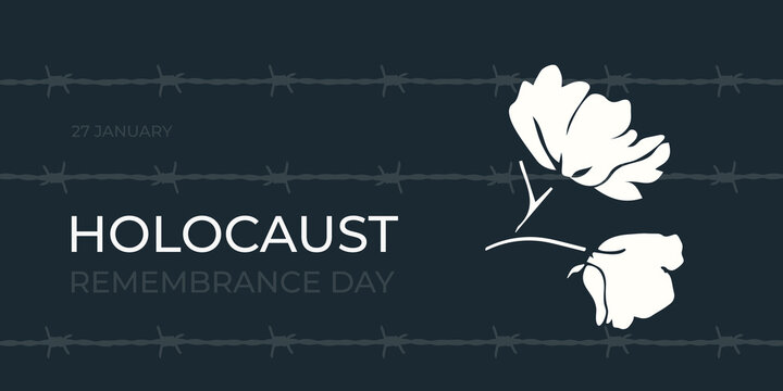 Holocaust Remembrance Day on 27 january. International Day of Commemoration in Memory of the Victims. Barbed wire and flower as a symbol of freedom.