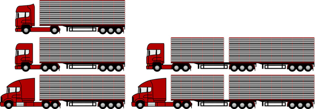 Livestock transport - set - package -  truck with livestock semi trailer  - livestock truck - convertible - cattle - sheep - pigs - transport - profile - b link - b double - road train - vector