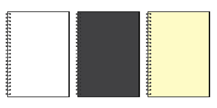White notebook mockup isolated. Black Business organizer. Mockup template. Top view. Stock image. EPS 10.