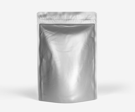 Blank Foil plastic pouch coffee bag, 3d rendering isolated on light background. Packaging template mockup, Aluminium coffee or juice package.