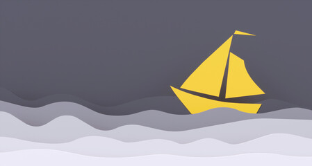 3d illustration of yellow boat on grey background