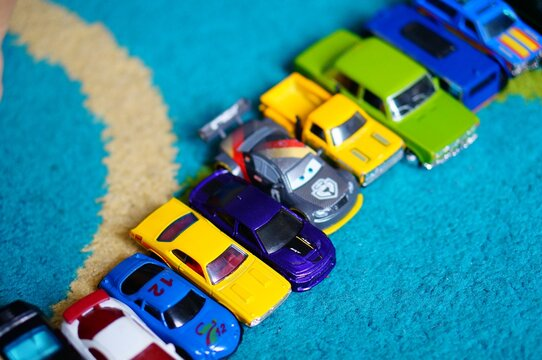 Row of toy cars