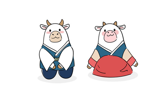 2021 신축년 새해 신년맞이 캐릭터_한국 전통 한복 입은 소 캐릭터
