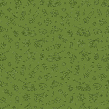 Seamless pattern for Defender of the Fatherland Day 23 february and Victory day 9 may. Hand drawn vector illustration on green background