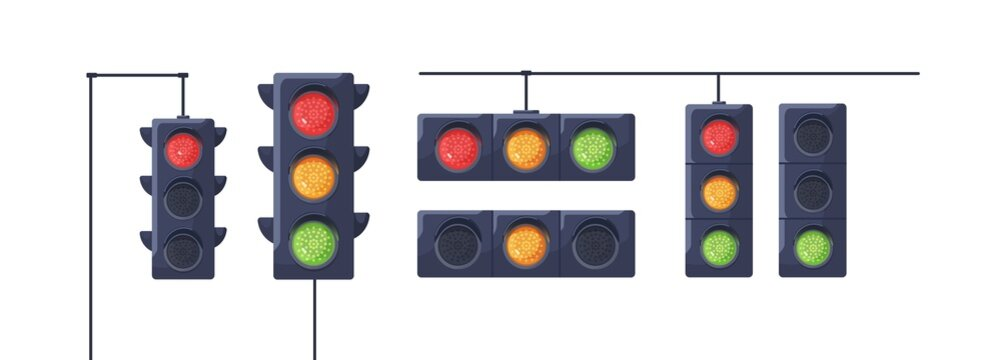 Set of traffic lights with red, yellow and green signals. Stoplights with prohibitory, allowing and waiting signs. Equipment for road movement control. Flat vector illustration isolated on white
