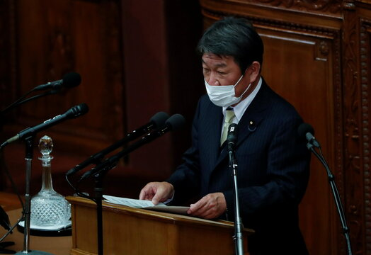 Japan's FM minister Toshimitsu Motegi deliver his policy speech at start of parliament sessions