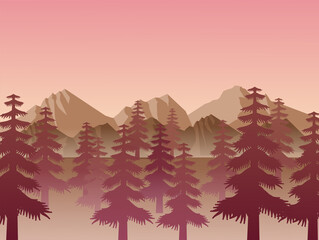 sunrise and Mountain vector landscapes in a flat style. Natural wallpapers are a minimalist, polygonal concept.