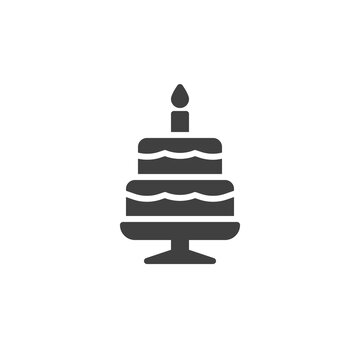 Birthday cake vector icon. filled flat sign for mobile concept and web design. Cake with candle glyph icon. Symbol, logo illustration. Vector graphics