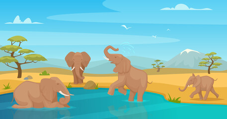 Elephant drink water. Savanna wild animals walking in kenya safari travel exact vector cartoon background. Family elephants in safari africa illustration