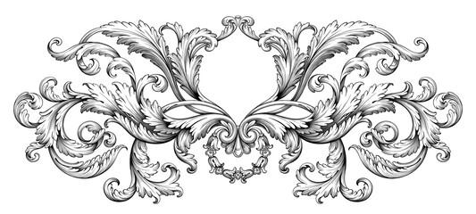 Vintage Baroque Victorian frame border monogram floral ornament  scroll engraved retro pattern tattoo calligraphic vector heraldic  Fototapete