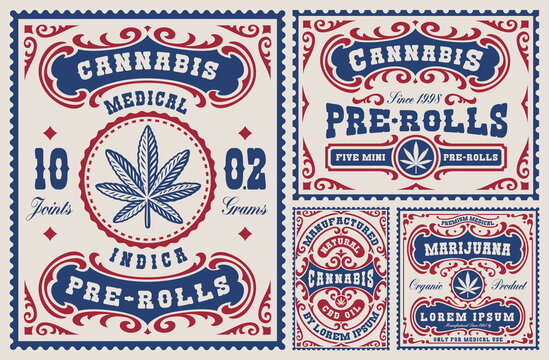 A set of vintage labels and badges for a cannabis theme, these design can be used as templates for packages for different marijuana products