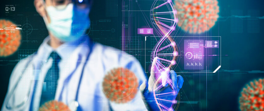 Scientist study research science technology innovation virus vaccine chemistry physic biology futuristic background interface, Asian doctor using computer processing data.