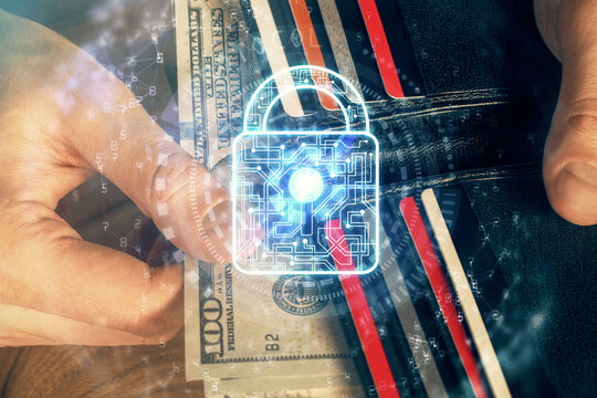 Double exposure of lock drawing hologram and us dollars bills and man hands. Security concept