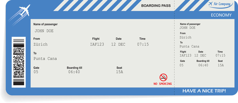 Pattern of airline boarding pass ticket in blue color. Travel or journey by plane concept. Blue boarding pass. Vector illustration