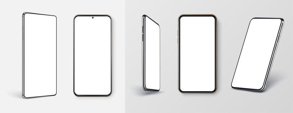 Realistic phone mockup. Smartphone blank screen, phone mockup. Template for infographics or presentation UI, UX design interface. Cellphone frame with blank display. Realistic 3d smartphones Mockup