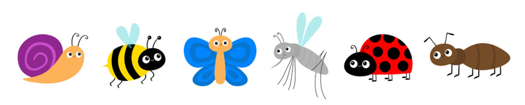 Ant, mosquito, butterfly, snail cochlea, bee bumblebee, lady bug ladybird flying insect icon set. Ladybug. Cute cartoon kawaii funny baby character. Happy Valentines Day. Flat design. White background