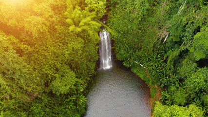 Fototapeta Aerial view of Pasy or Pa Sy waterfalls in Mang Den, Kon Tum province, Vietnam