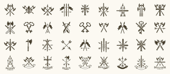 Fototapeta Weapon logos big vector set, vintage heraldic military emblems collection, classic style heraldry design elements, ancient knives spears and axes symbols.