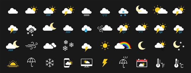 Set of 40 weather web icons in line style. Weather , clouds, sunny day, moon, snowflakes, wind, sun day. Vector illustration.