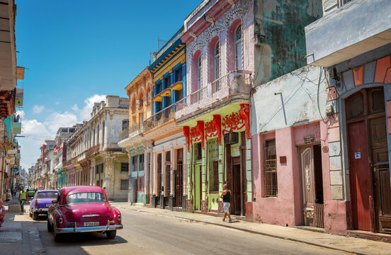 Colorful street with classic old cars in Havana; Cuba