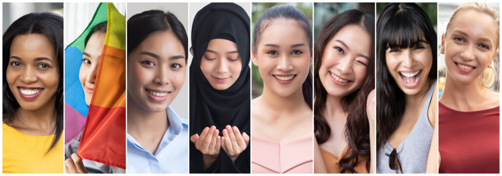 Collage of diverse and inclusive women from around the world, concept of international women's day, world women with diversity and inclusivity, ethnicity and religion tolerance, women's right