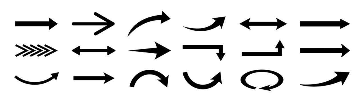 Set of arrows, arrows different. Arrow icon. Vector illustration.