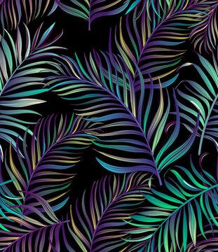 Tropical leaves vector pattern. summer botanical illustration for clothes, cover, print, illustration design.