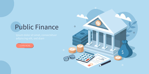 Coins, Banknotes, Financial Documents Lying Near Government Finance Department or Tax Office Column Building. Public Finance Audit Concept. Flat Isometric Vector Illustration. - fototapety na wymiar