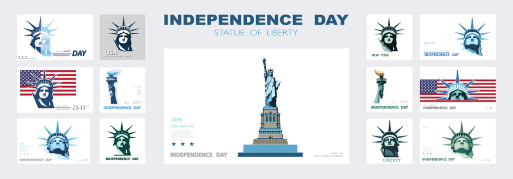 Independence day portrait Statue of Liberty, poster presentation. Set of green flat design templates. USA flag Holiday. The national symbol of America New York, banner.Name of advertising text, vector
