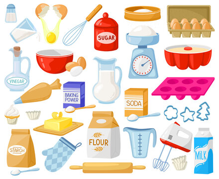 Cartoon baking ingredients. Bakery ingredients, baking flour, eggs, butter and milk vector illustration set. Pastry prepare cooking ingredients. Food supplies as rolling pin , mixer