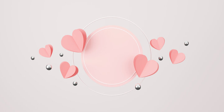 happy valentine's day concept. minimal scene with geometric forms. cylinder podium display or showcase mockup for product in pink background with paper heart and silver ball 3D illustration