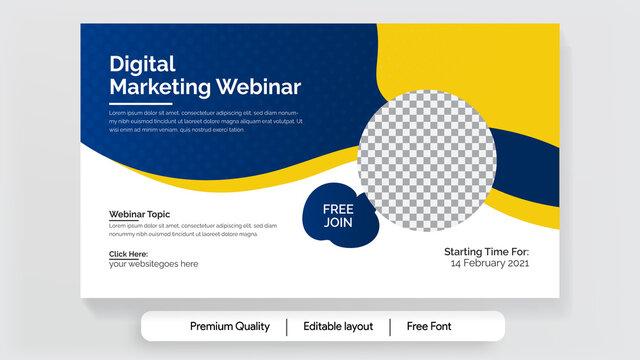 Business Online Marketing Webinar Program, conference Banner, flyer, post, vector