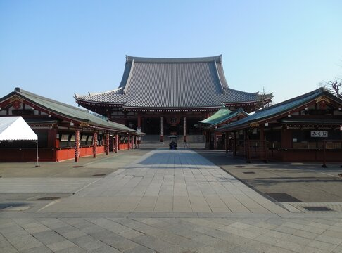Deserted Senso-Ji Temple in Tokyo, Japan