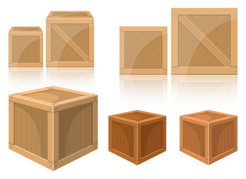 Wooden box vector design illustration isolated on white background