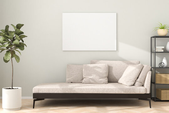 Chaiselongue style sofa in an apartment with a figue tree, a shelf and a mockup artists canvas on the wall. Sunlight flooding in and casting shadows. 3d render.