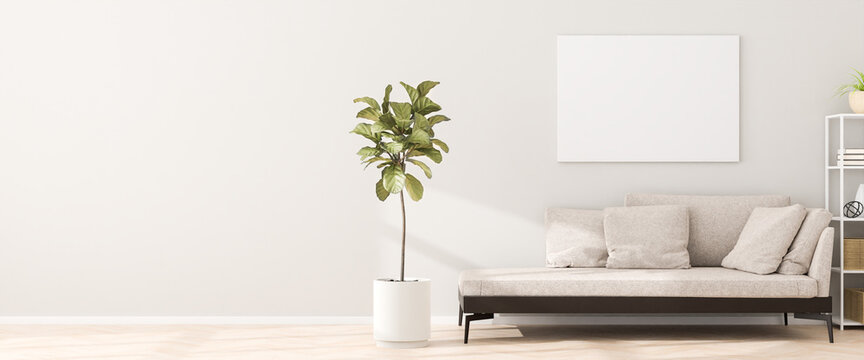 Chaiselongue style sofa in an apartment with a figue tree, a shelf and a mockup artists canvas on the wall. Sunlight casting shadows. 3d render. Web banner format