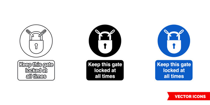 Keep this gate locked at all times mandatory sign icon of 3 types color, black and white, outline. Isolated vector sign symbol.