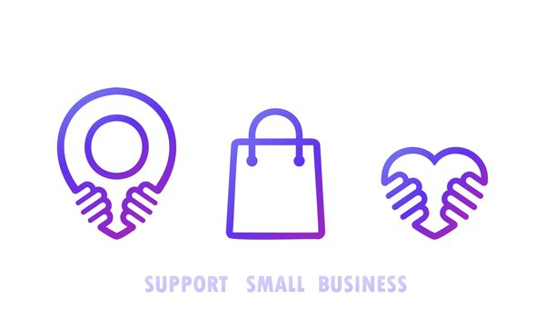 Support small busines icon set. Shop local products. Vector on isolated white background. EPS 10