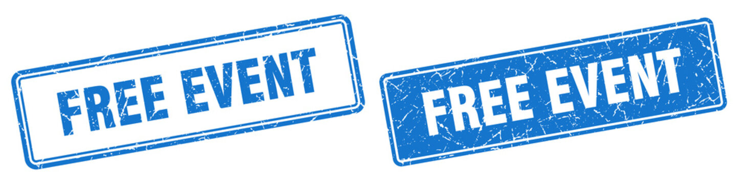 free event stamp set. free event square grunge sign