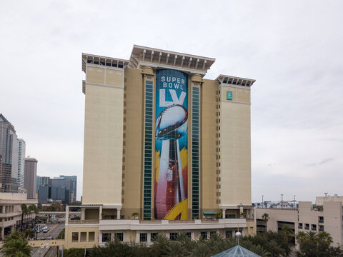 View of the Embassy Suites by Hilton with the Super Bowl LV Vince Lombardi trophy
