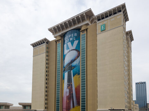 Ground Level View of the Embassy Suites by Hilton with the Super Bowl LV Vince Lombardi trophy