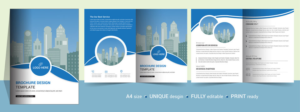 Corporate Bi-fold brochure template, catalog, booklet template and fully editable.
