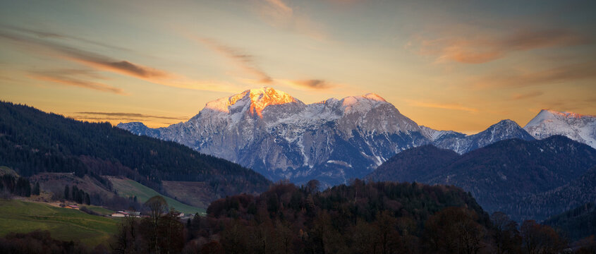 Alps Panorama and Berghof on the Left, southern Bavaria, Germany, taken in December 2020