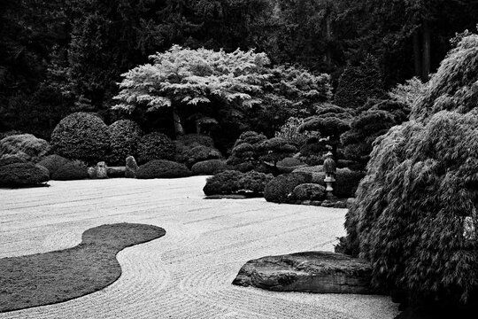 A black and white image of the Flat Garden in the Portland Japanese Garden.  The Flat Garden is made up of raked stones surrounded by a lush, carefully manicured landscape