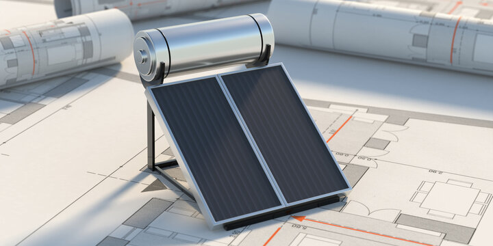 Solar water heater, panels and boiler on project drawings background. 3d illustration
