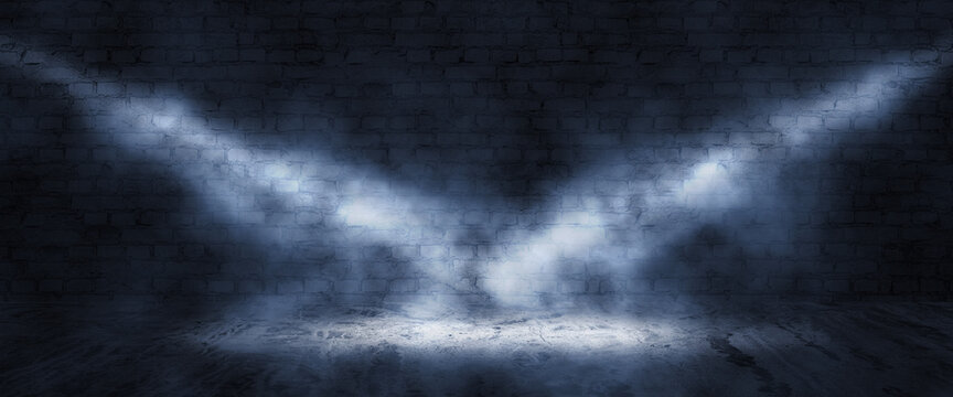 Background of brick wall and concrete floor, light of searchlight rays in smoke
