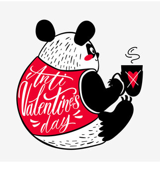 Anti Valentines day cute panda with coffee in flat and hand drawn styles. Vector illustration for Valentines day, greeting cards, posters, digital and social media